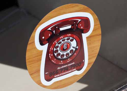 Custom-Printed-Die-Cut-Stickers-with-Rotary-Phone-Design-printed-by-StickerGiant