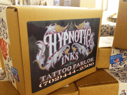 hyponotic tattoo parlor sticker