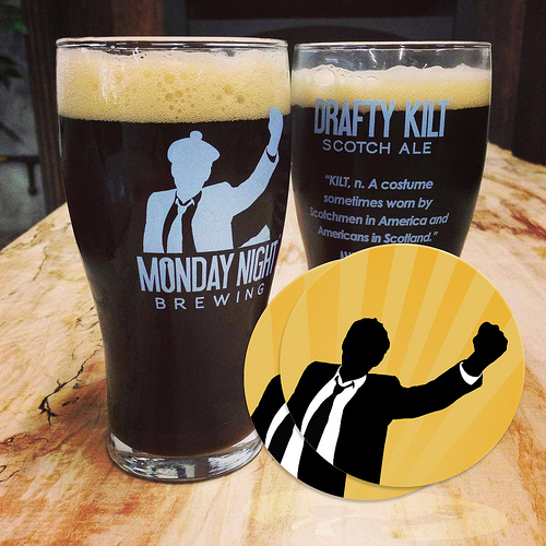 Monday night brewing round stickers