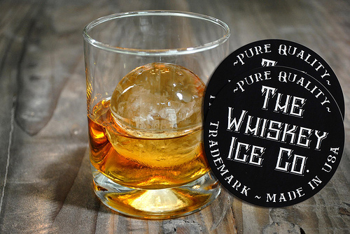 Whiskey-Ice-Round-Custom-Printed-Logo-Stickers-with-Glass-of-Whiskey