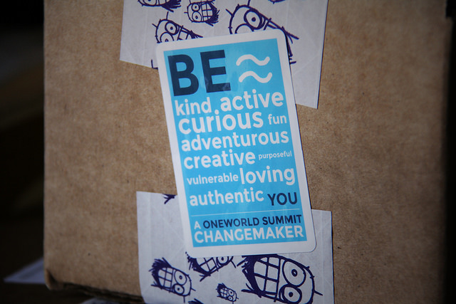 changemaker sticker on cardboard box stickergiant