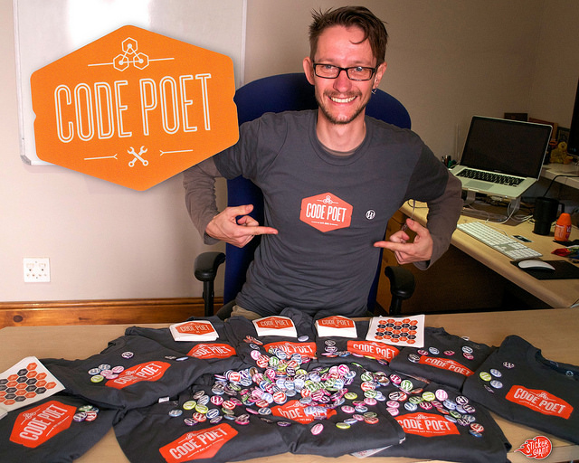 code poet stickers and schwag stickergiant