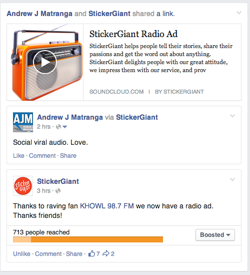 StickerGiant Facebook Sound Cloud Promo