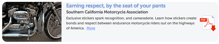 Southern California Motorcycle Association and their stickers have made marketing simple and relevant