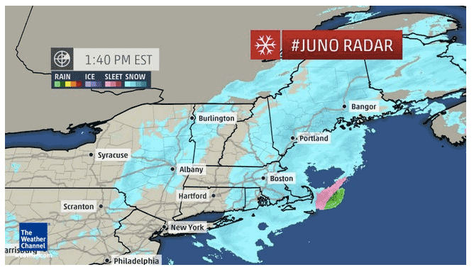 Weather Channel Map of Winter Storm Juno. Weather.com