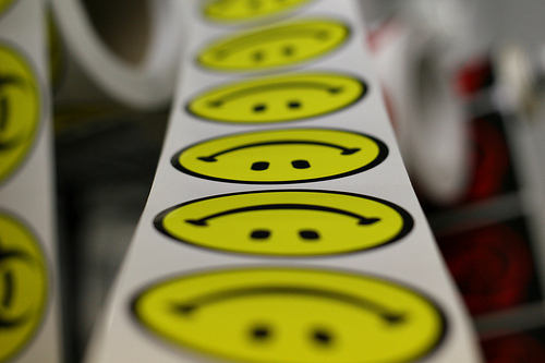 Customers smile when they see StickerGiant's custom sticker selection!