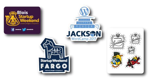 Startup-Weekend-Fargo-Blois-WordCamp-Jackson-Lancaster-2017-Sponsored-Stickers
