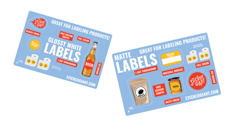 Stickergiant label sample sheets for glossy and matte labels