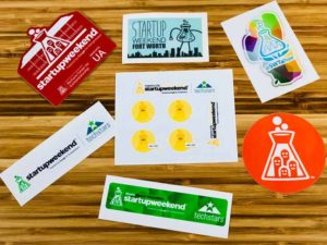 Custom Stickers for Techstars Startup Weekends and Weeks sponsored in kind by StickerGiant