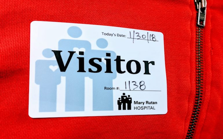 matte labels make ideal visitor name tags for mary rutan hospital