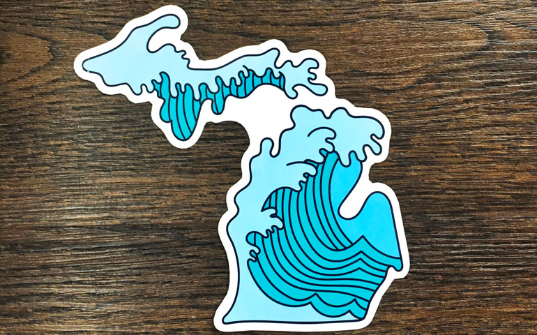 Custom shaped stickers make waves for the fresh coast co etsy shop