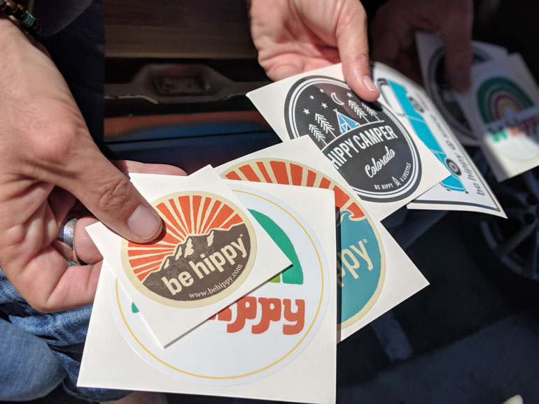 A-Handful-of-Be-Hippy-Custom-Kiss-Cut-Stickers-printed-by-StickerGiant