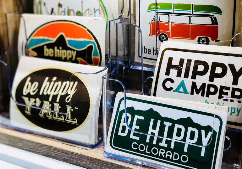 Be-Hippy-Stickers-on-Display-at-Denver-International-Airport-stickers-printed-by-StickerGiant