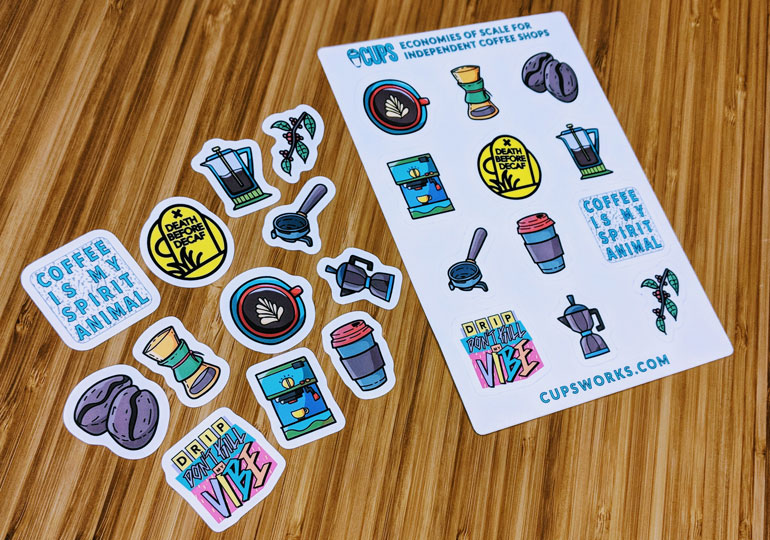 matte sticker sheets help cupsworks promote their independent coffee