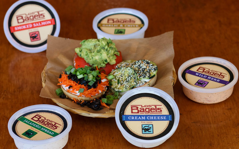 Cream-Cheese-Flavors-from-Los-Bagels-in-Humboldt-County-California-with-Custom-Labels-Printed-by-StickerGiant