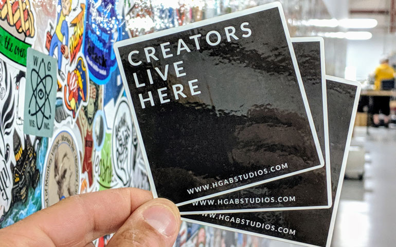 Glossy-Die-Cut-Stickers-that-Say-Creators-Live-Here-Printed-at-StickerGiant-for-HGABStudios.com-in-Miami-FL