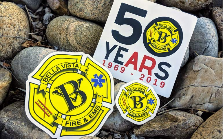 Custom-Shaped-Stickers-Printed-by-StickerGiant-for-Bella-Vista-Arkansas-Fire-&-EMS-50-Year-Anniversary