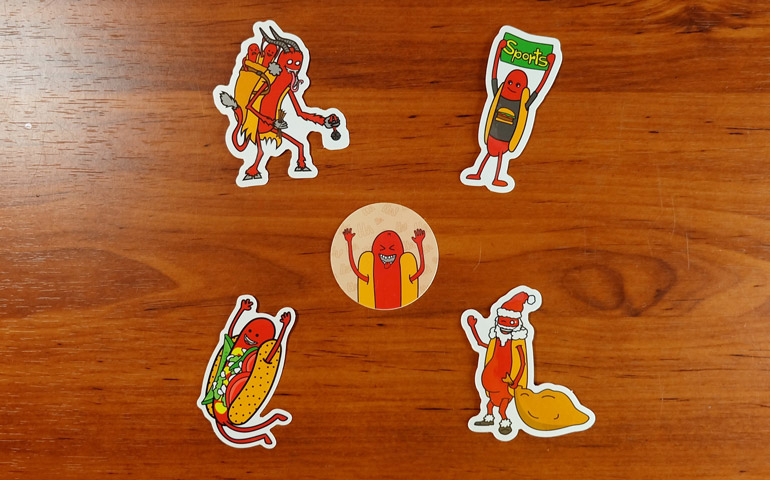 Different-Designs-of-Haha-Hot-Dog-Stickers-printed-by-StickerGiant
