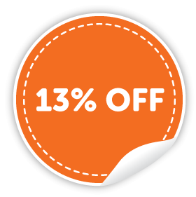 13% off orders over $150