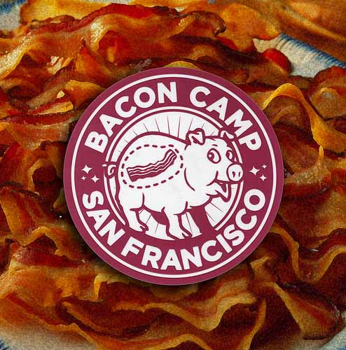 Custom Circle Stickers for the Bacon Camp in San Francisco are a Super Fun Stickers Printed by StickerGiant