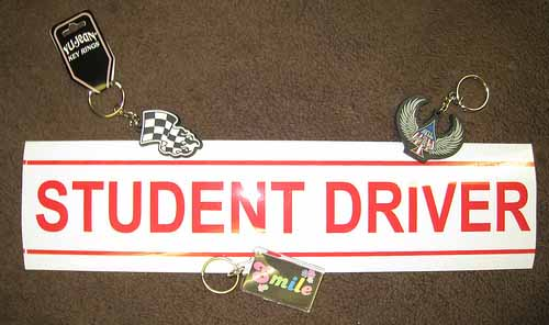 Student Driver Keychains and Stickers