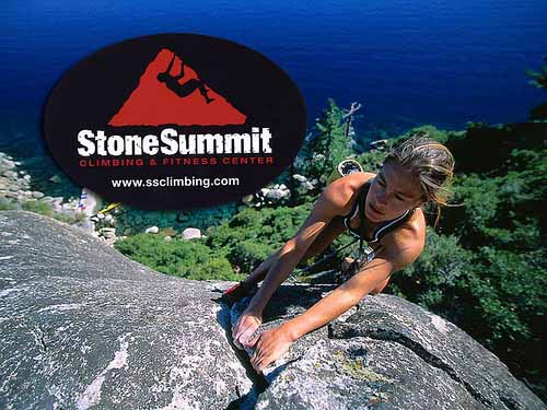 Oval shaped logo stickers for StoneSummit Climbing & Fitness Center