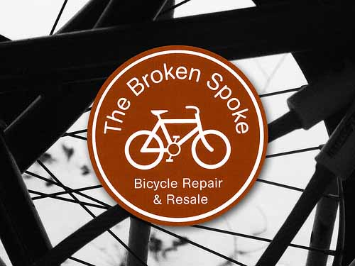Custom circle stickers for The Broken Spoke Bicycle Repair Shop printed by StickerGiant
