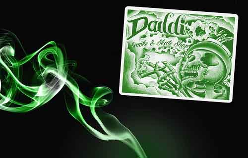 Green and White Stickers with Skeleton for Daddi Smoke and Skate Shop