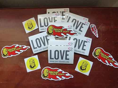 Sponsored stickers from StickerGiant for Love-Squared.org