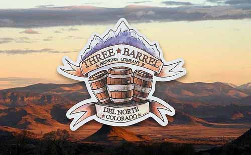 Custom Stickers for Three Barrel Brewing Company in Del Norte Colorado, from StickerGiant