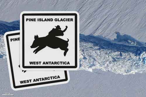 Custom Square Stickers printed for Pine Island Glacier in West Antartica