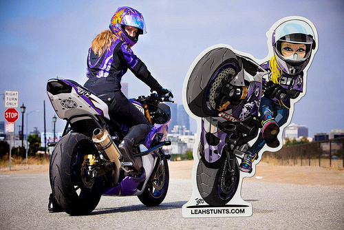 Leah Stunts Hero Sticker Wicked Cool Sticker Stories From - Cool custom motorcycle stickers