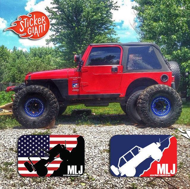 Red Jeep with Custom Stickers for Major League 4x4 - Stickers Printed by StickerGiant