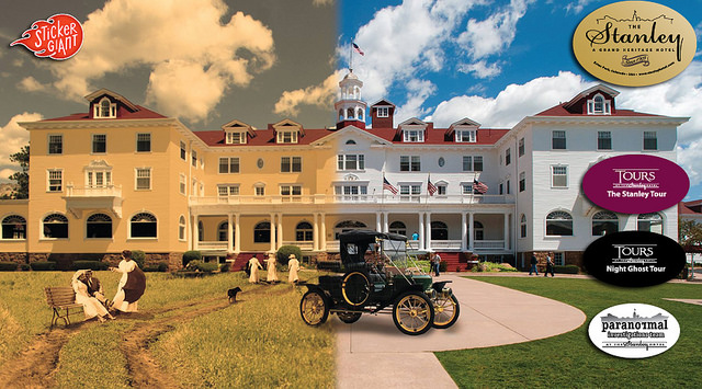Old and New Perspective of the Stanley Hotel in Colorado with Sticker Designs Printed at StickerGiant