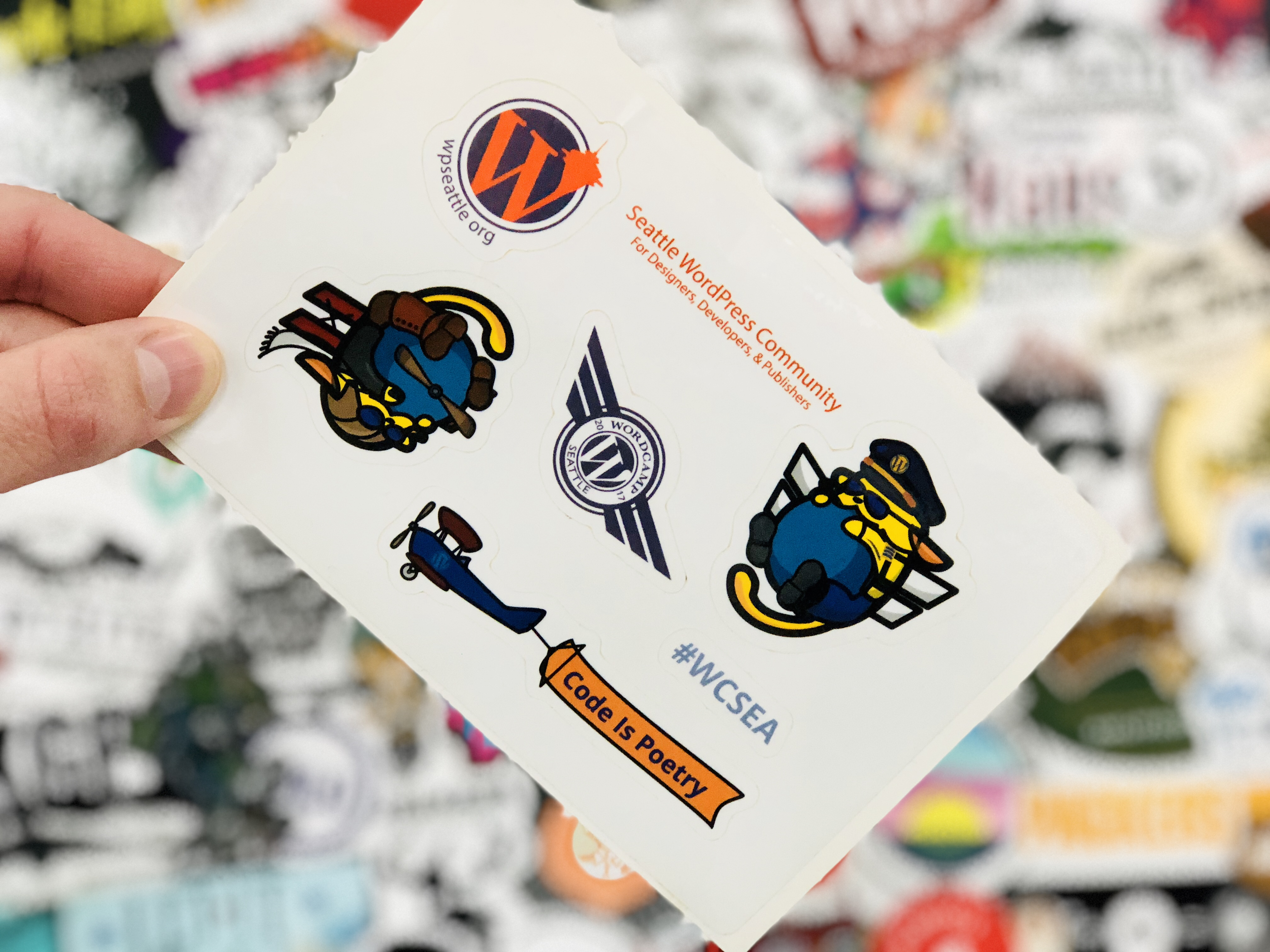 WordCamp Seattle 2017 Sticker Sheet Wapuu