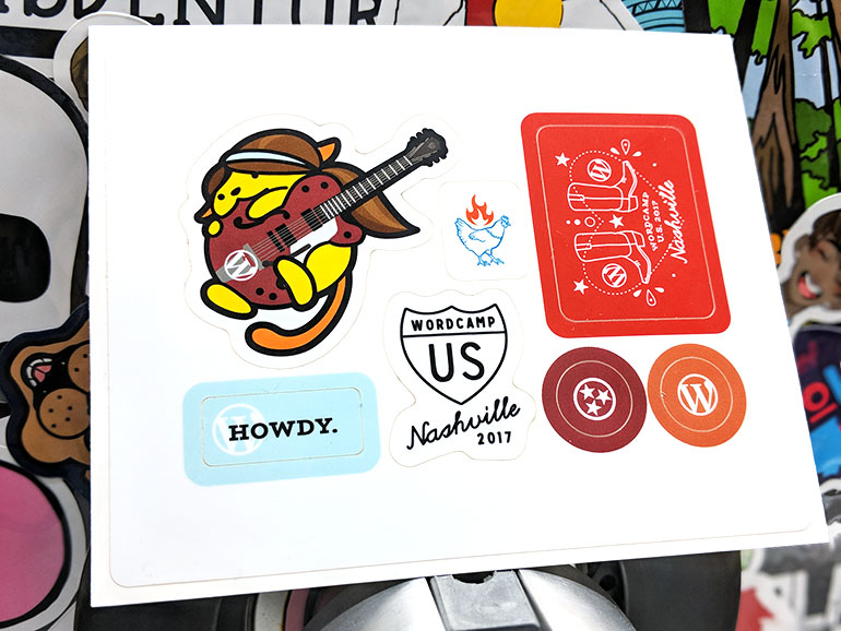 Custom wordpress wapuu sticker sheets ready to rock in nashville at the third annual wordcamp us