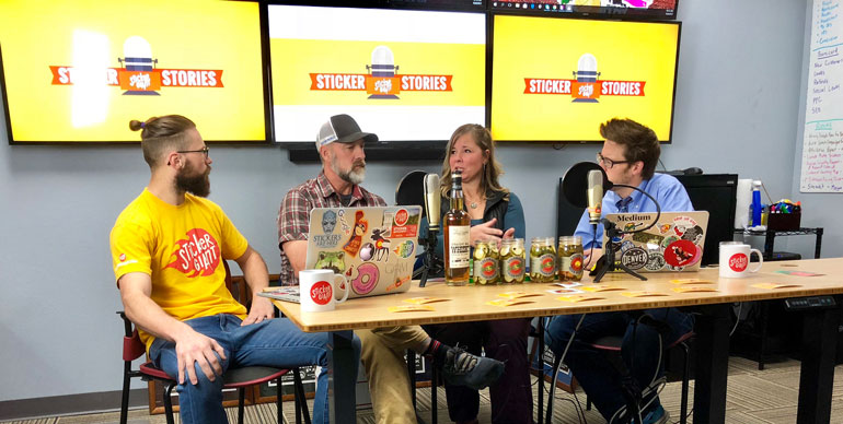 Sticker-Stories-Podcast-Team-on-set-with-Colorado-Liquor-Pickles