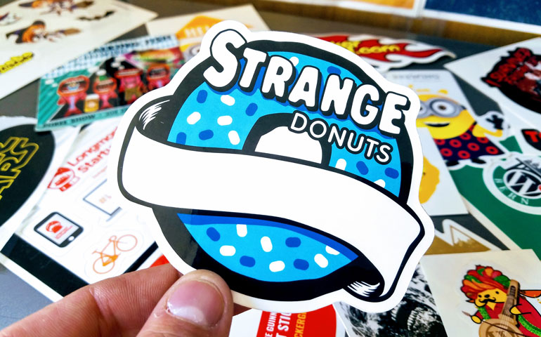 Every day is a good day for donut shaped promotional stickers from strange donuts