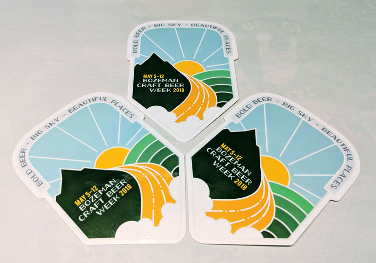 Event stickers for bozeman craft beer week celebrate gallatin valley brewing community