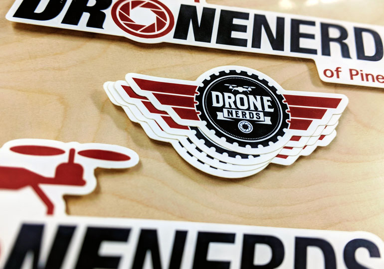 Matte stickers take the drone nerds logo to new heights