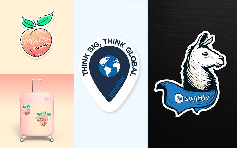 Custom sticker designs: Left design by A n a s t a s i a for Atlanta, Georgia. Middle Design by by Dope Bunny for Transifex. Right design by sanjar for Swiftly