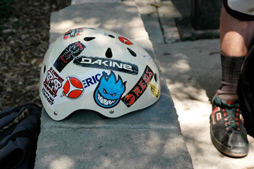 helmet covered in silkscreen stickers